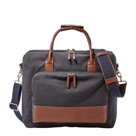 FOSSIL Carson Leather Travel Bag Navy Mens